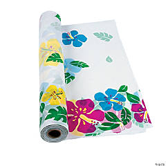 Plastic Hibiscus Tablecloth Roll