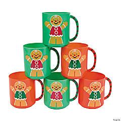 Plastic Holiday Gingerbread Man Mugs