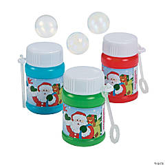 Plastic Holiday Mini Bubble Bottles
