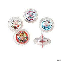 Plastic Holiday Swirl Spin Tops