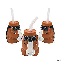 Plastic Horse Cups with Lids & Straws