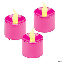 Plastic Hot Pink Battery-Operated Votive Candles