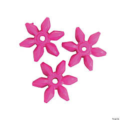 Plastic Hot Pink Daisy-Shaped Beads