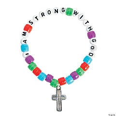 "Plastic ""I Am Strong with God"" Pony Bead Bracelet Craft Kit"