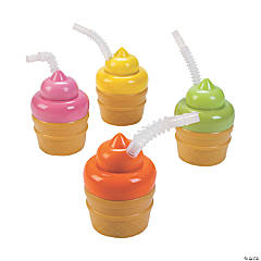 Plastic Ice Cream Cone Cups with Lids & Straws