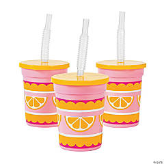 Plastic Lemonade Party Cups with Lids & Straws