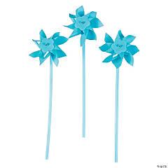 Plastic Light Blue Pinwheels - 36 Pc.