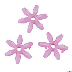 Plastic Light Pink Daisy-Shaped Beads