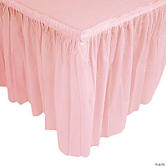 Plastic Light Pink Pleated Table Skirt