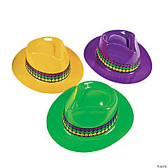 Plastic Mardi Gras Fedora Hats
