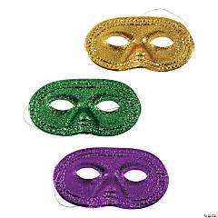 Plastic Mardi Gras Glitter Half Masks