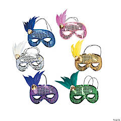 Plastic Mardi Gras Sequin And Feather Masks