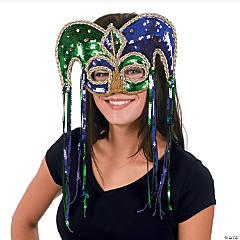Plastic Mardi Gras Sequin Jester Half Mask