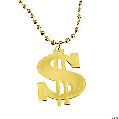 Plastic Metallic Dollar Sign Necklaces