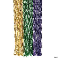 Plastic Metallic Faceted Mardi Gras Bead Necklaces