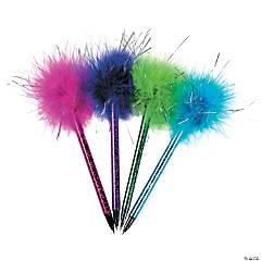 Plastic Metallic Marabou Pens