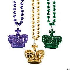 Plastic Metallic Mardi Gras Crown Beaded Necklaces