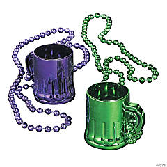 Plastic Metallic Mardi Gras Traveling Shot Glasses