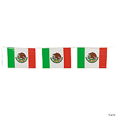 Plastic Mexican Flag Pennant Banner