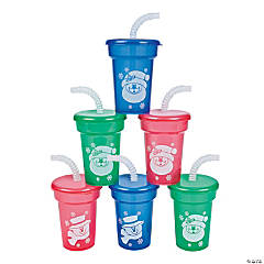 Plastic Mini Holiday Sipper Cups