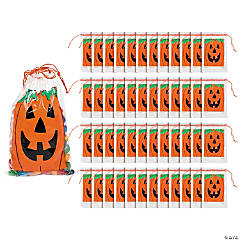 Plastic Mini Jack-O'-Lantern Drawstring Treat Bags