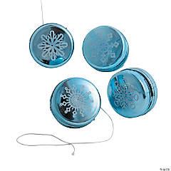 Plastic Mini Metallic Snowflake YoYos