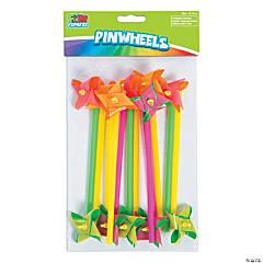 Plastic Mini Neon Two-Tone Pinwheels
