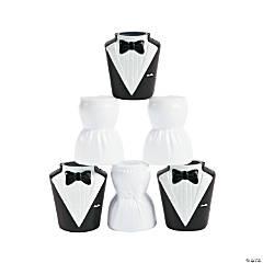 Plastic Molded Bride & Groom Shot Glasses