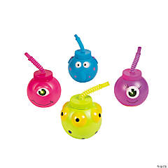 Plastic Monster Cups with Lids & Straws
