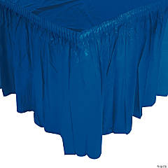 Plastic Navy Blue Pleated Table Skirt