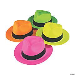Plastic Neon Fedora Hats