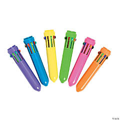 Plastic Neon Mini Shuttle Pens