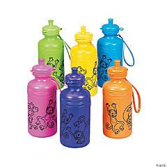 Plastic Neon Monkey Water Bottles