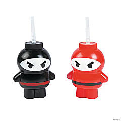 Plastic Ninja Cups with Lids & Straws