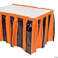 Plastic Orange And Black Table Skirt