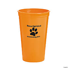 Plastic Orange Paw Print Personalized Tumblers