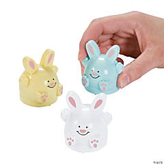 Plastic Pastel Easter Bunny Pull-Back Toys PDQ
