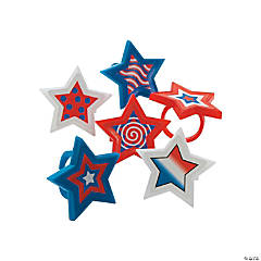 Plastic Patriotic Star-Shaped Rings