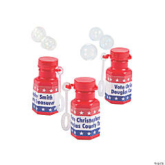Plastic Personalized Mini Patriotic Bubble Bottles
