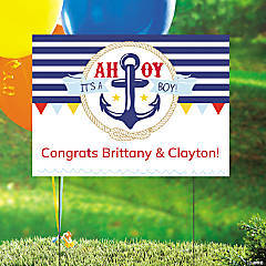 Plastic Personalized Nautical Baby Shower Yard Sign