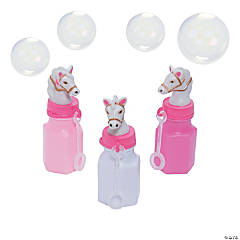 Plastic Pink Cowgirl Bubble Bottles - 12 Pc.