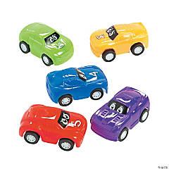 Plastic Pullback Eye Race Cars
