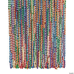 Plastic Rainbow Mardi Gras Beaded Necklaces