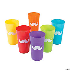 Plastic Rainbow Mustache Tumblers