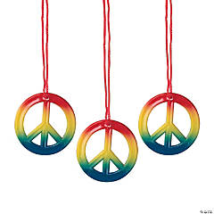 Plastic Rainbow Peace Sign Necklaces