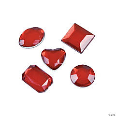 Plastic Red Adhesive Jewels