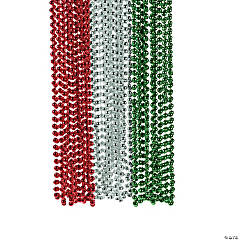 Plastic Red, Green & Silver Beaded Necklaces