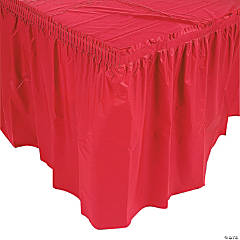 Plastic Red Pleated Table Skirt