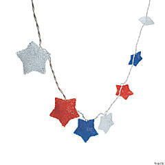Plastic Red, White And Blue Star Light String