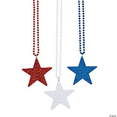 Plastic Red, White & Blue Star Necklaces
